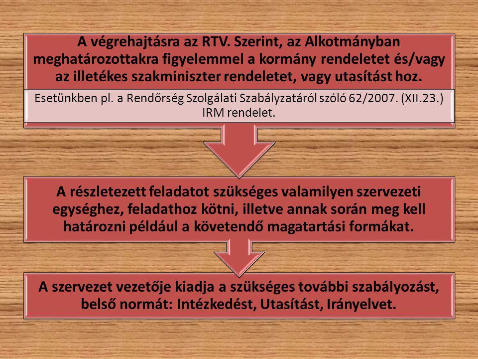 A végrehajtásra az RTV. Szerint, az Alkotmányban meghatározottakra figyelemmel a kormány rendeletet és/vagy az illetékes szakminiszter rendeletet, vagy utasítást hoz.