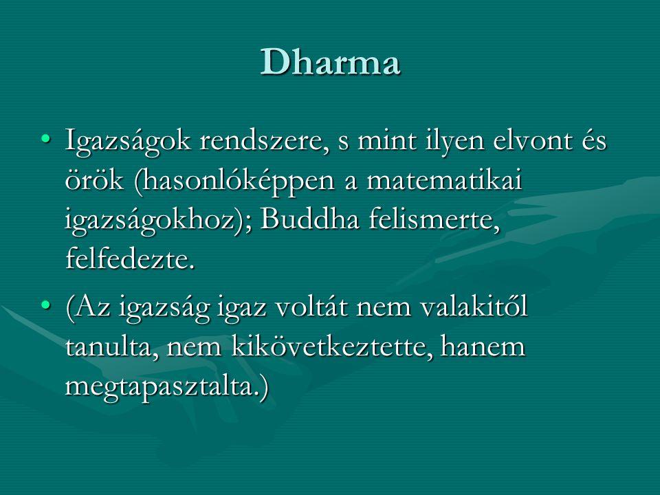 Dharma Igazságok rendszere, s mint ilyen elvont és örök (hasonlóképpen a matematikai igazságokhoz); Buddha felismerte, felfedezte.