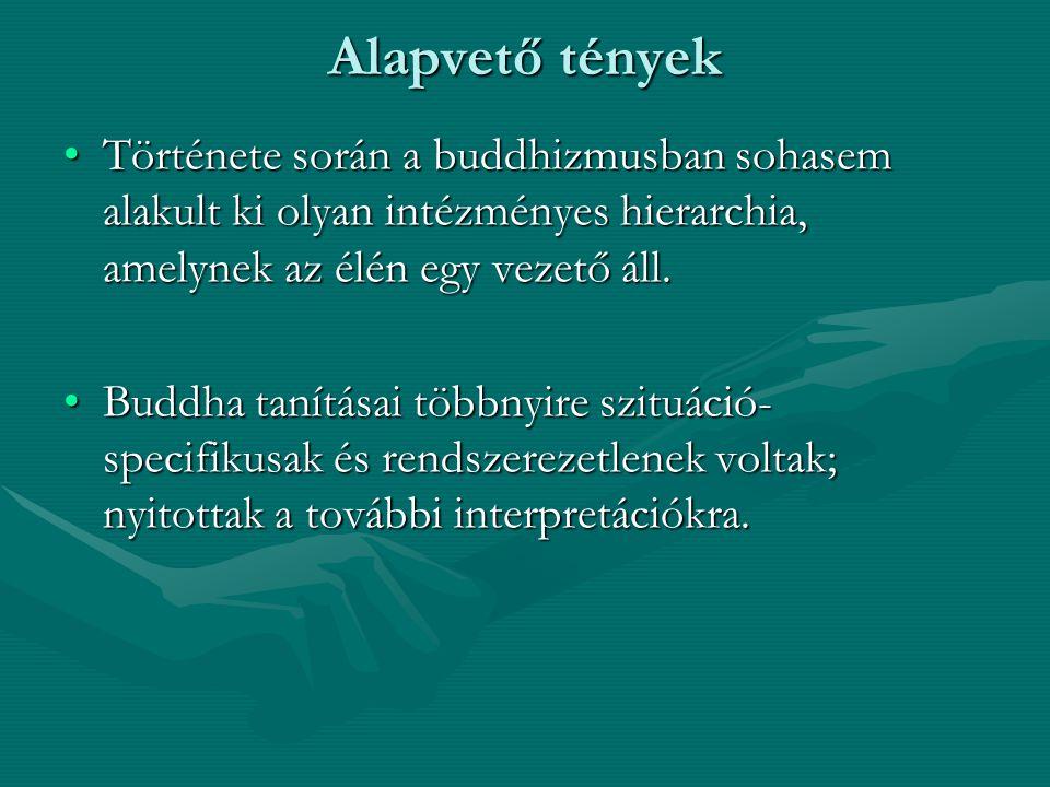 Alapvető tények Története során a buddhizmusban sohasem alakult ki olyan intézményes hierarchia, amelynek az élén egy vezető áll.