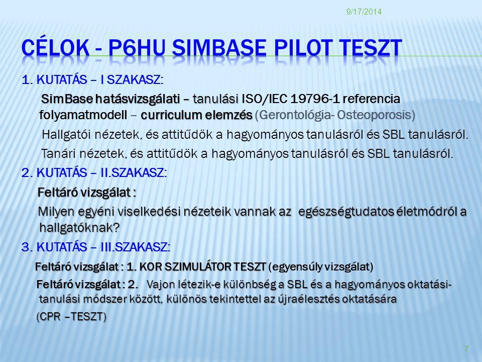CÉLOK - p6HU SIMBASE PILOT TESZT