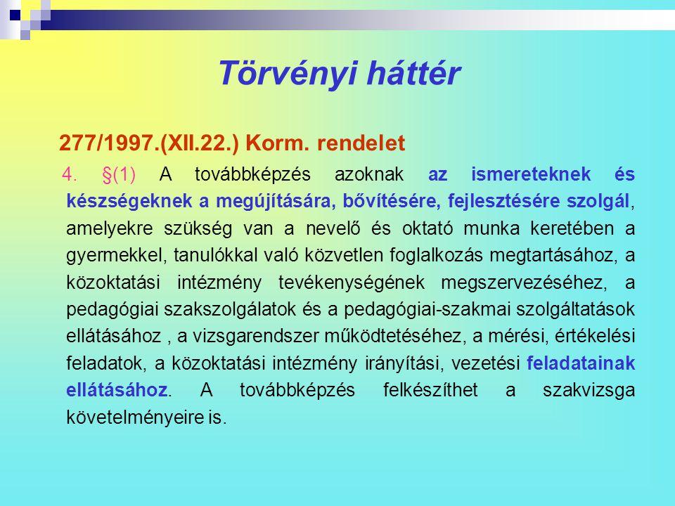 Törvényi háttér 277/1997.(XII.22.) Korm. rendelet