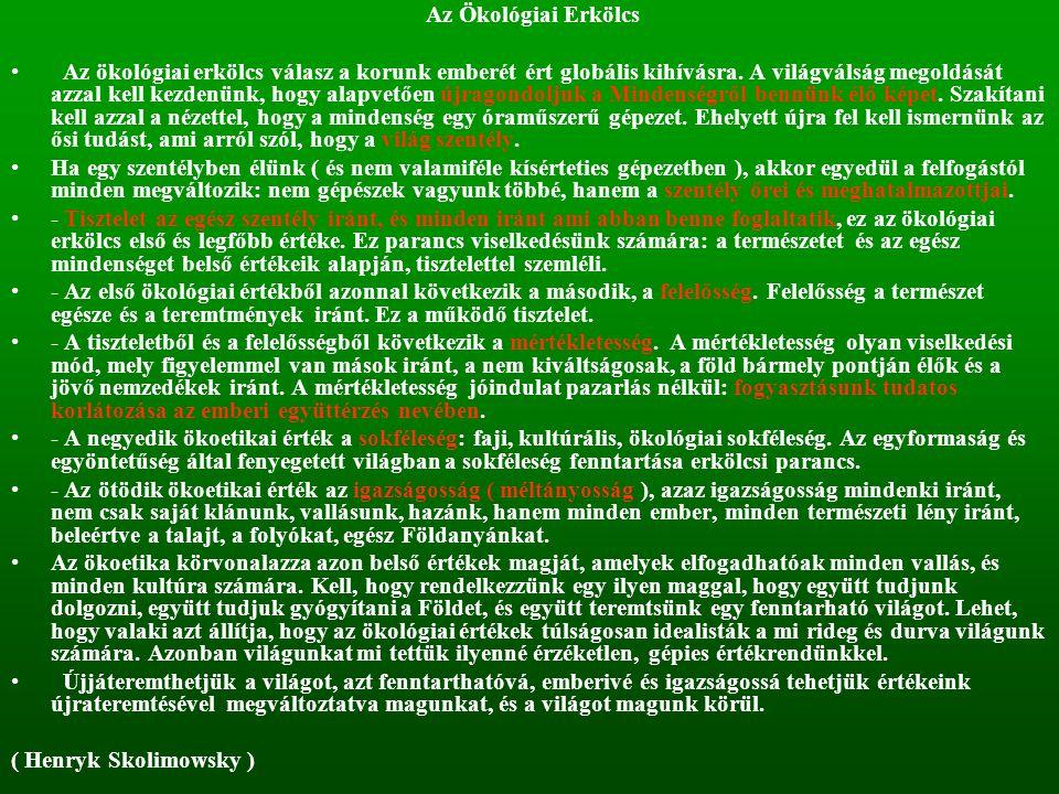 Az Ökológiai Erkölcs