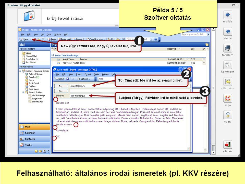 Felhasználható: általános irodai ismeretek (pl. KKV részére)