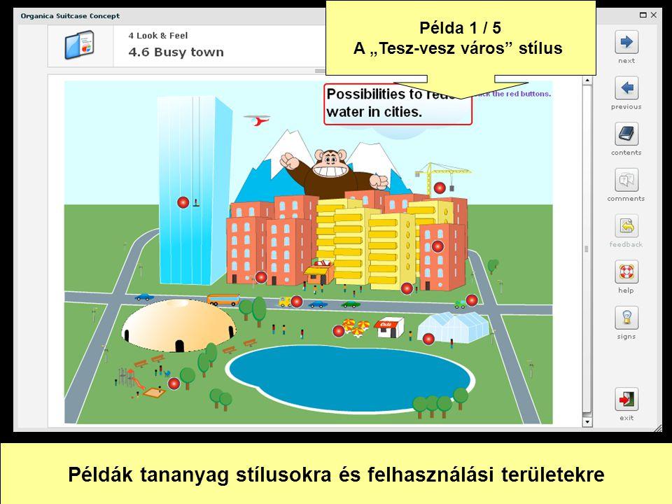 Példák tananyag stílusokra és felhasználási területekre