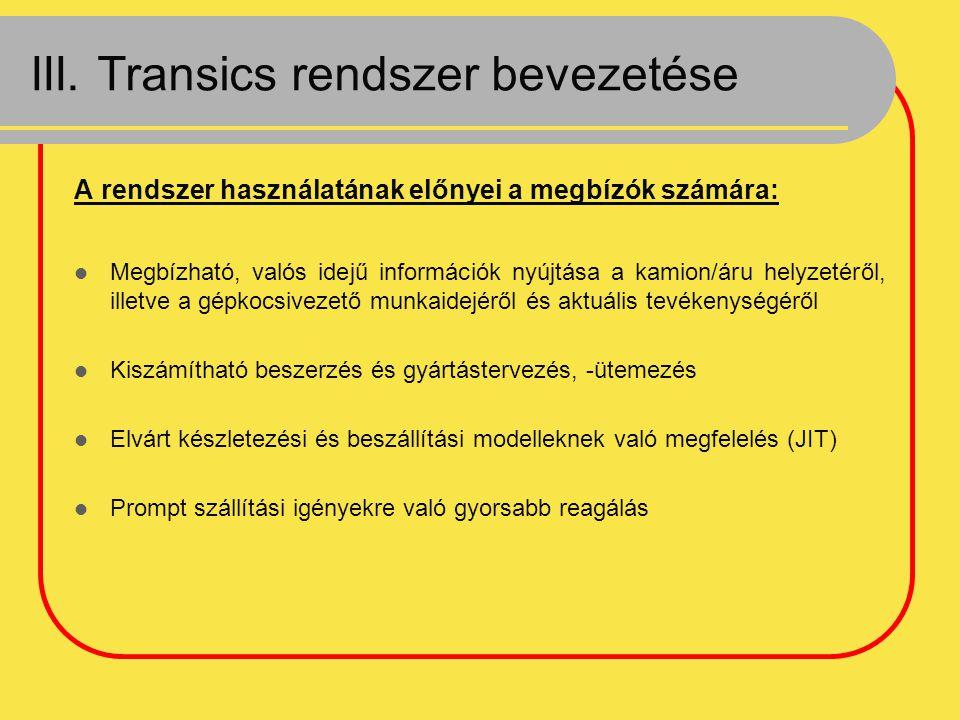 III. Transics rendszer bevezetése
