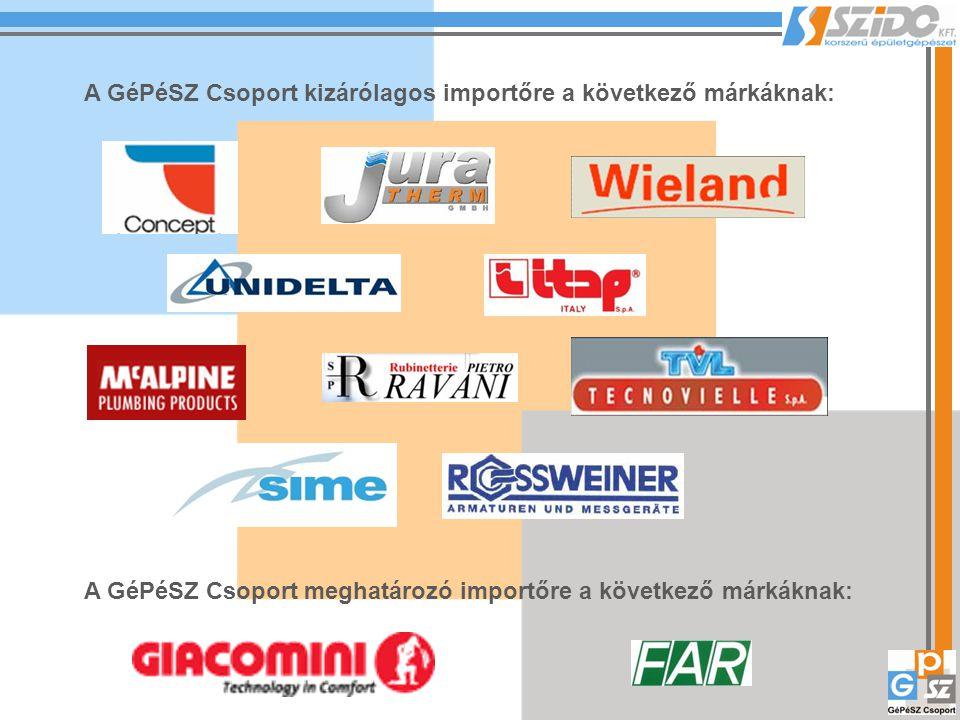 A GéPéSZ Csoport kizárólagos importőre a következő márkáknak: