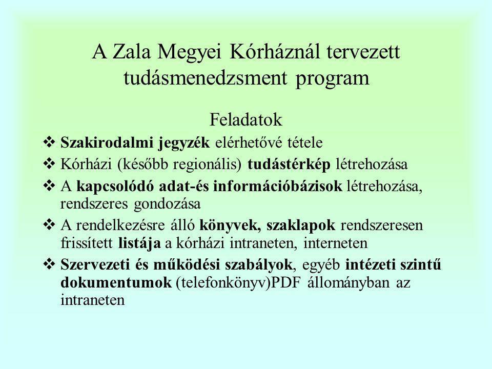 A Zala Megyei Kórháznál tervezett tudásmenedzsment program