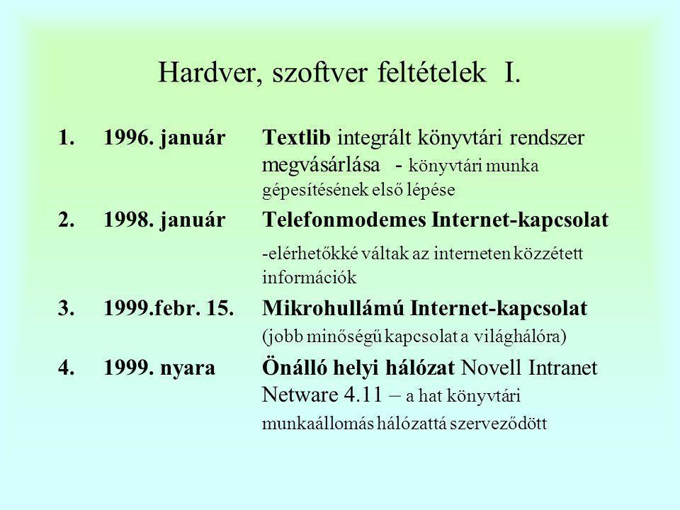 Hardver, szoftver feltételek I.
