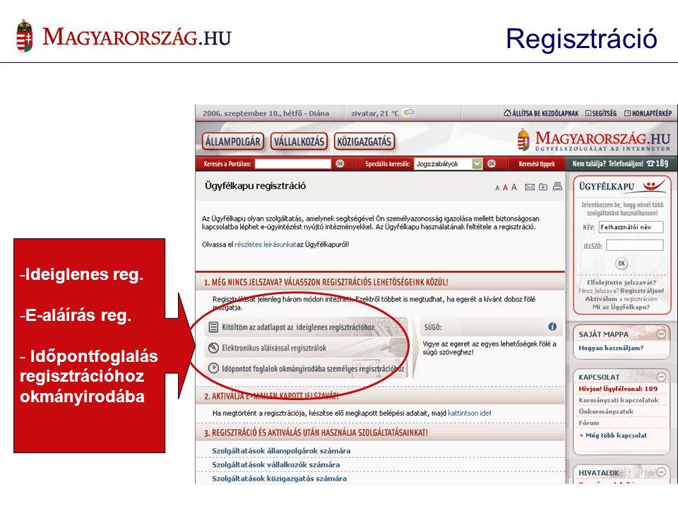 Regisztráció Ideiglenes reg. E-aláírás reg. Időpontfoglalás