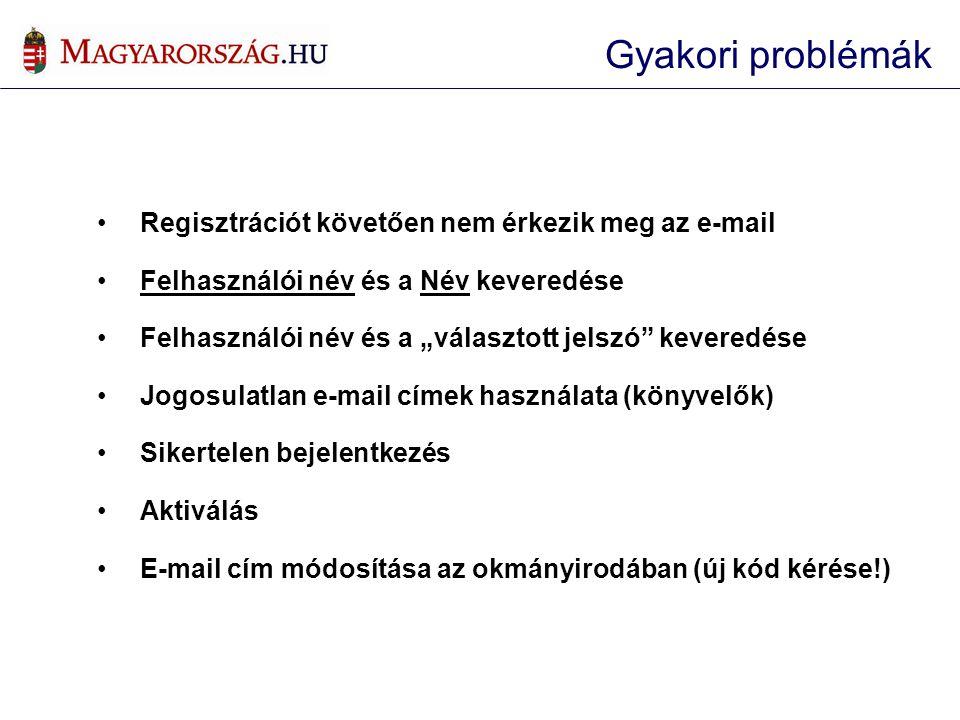 Gyakori problémák Regisztrációt követően nem érkezik meg az e-mail