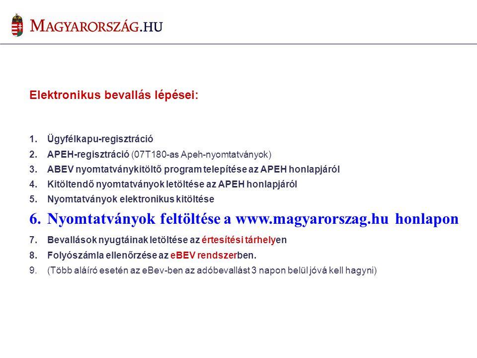 Nyomtatványok feltöltése a www.magyarorszag.hu honlapon