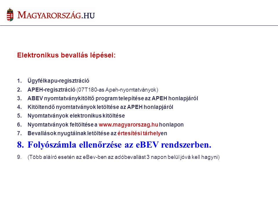 Folyószámla ellenőrzése az eBEV rendszerben.