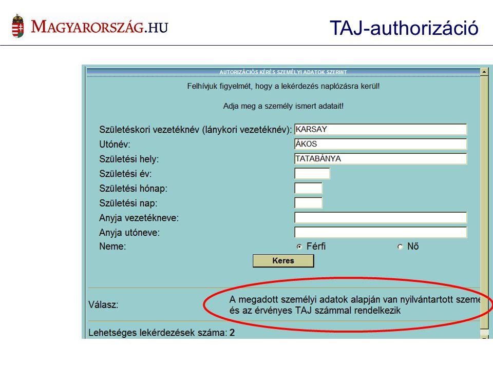 TAJ-authorizáció