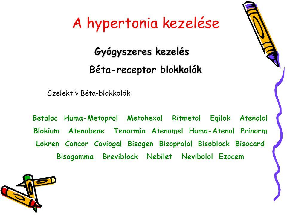 A hypertonia kezelése Gyógyszeres kezelés Béta-receptor blokkolók