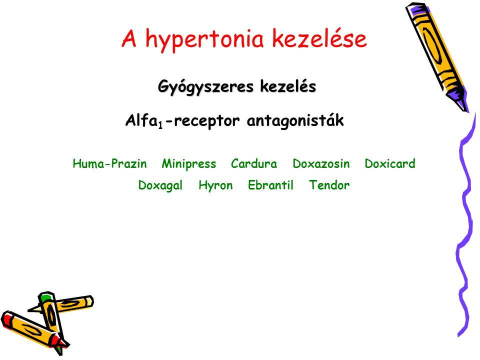 A hypertonia kezelése Gyógyszeres kezelés Alfa1-receptor antagonisták
