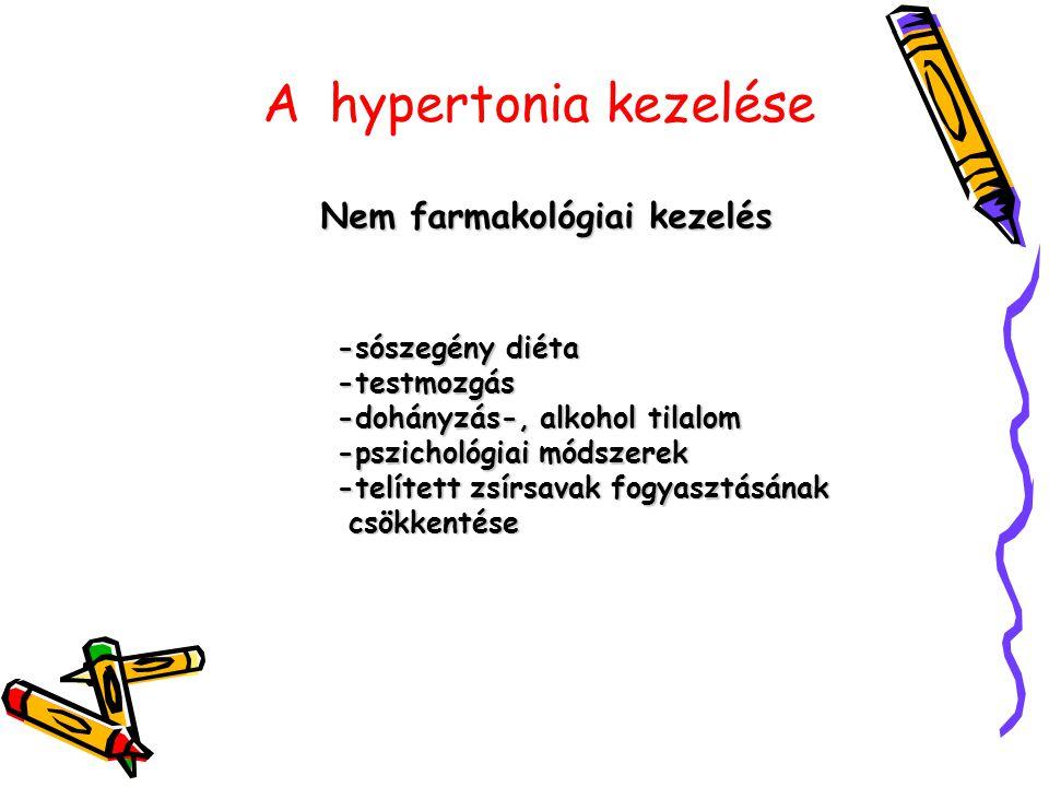 A hypertonia kezelése Nem farmakológiai kezelés -sószegény diéta