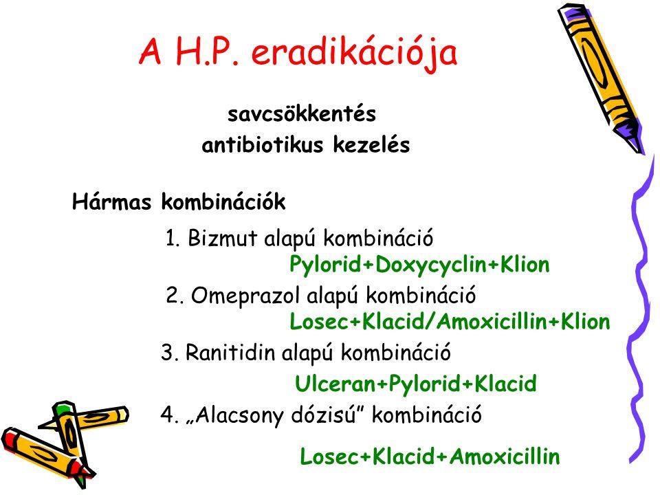 A H.P. eradikációja savcsökkentés antibiotikus kezelés