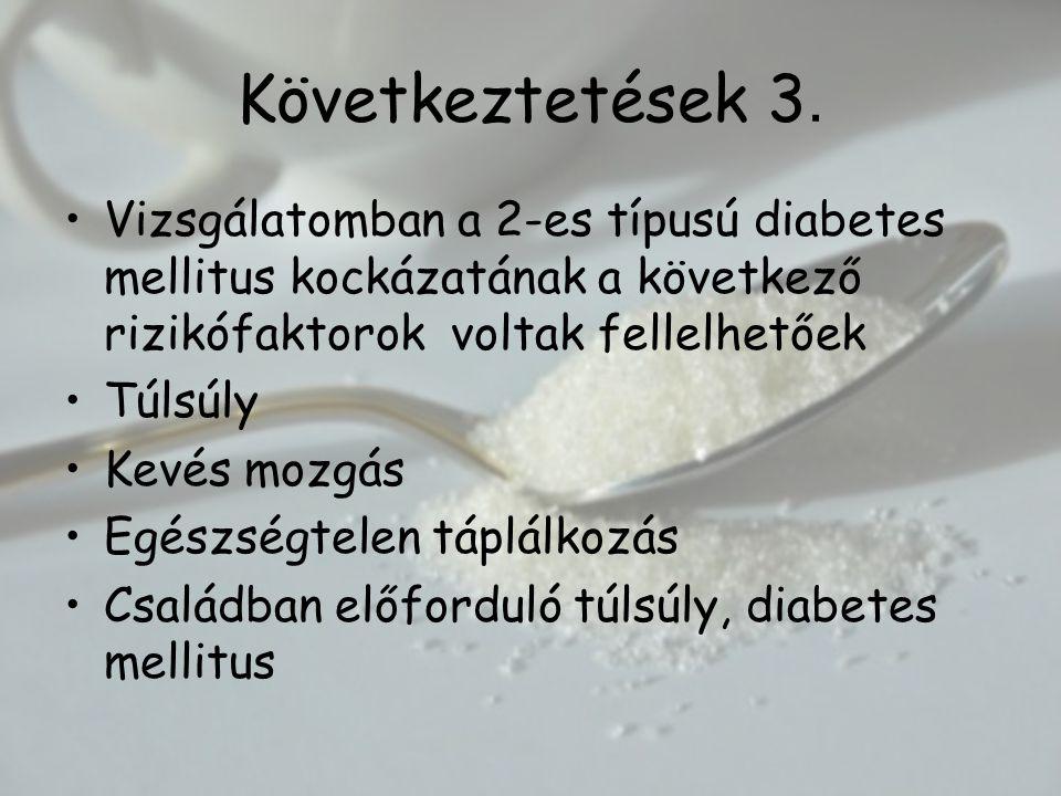 Következtetések 3. Vizsgálatomban a 2-es típusú diabetes mellitus kockázatának a következő rizikófaktorok voltak fellelhetőek.