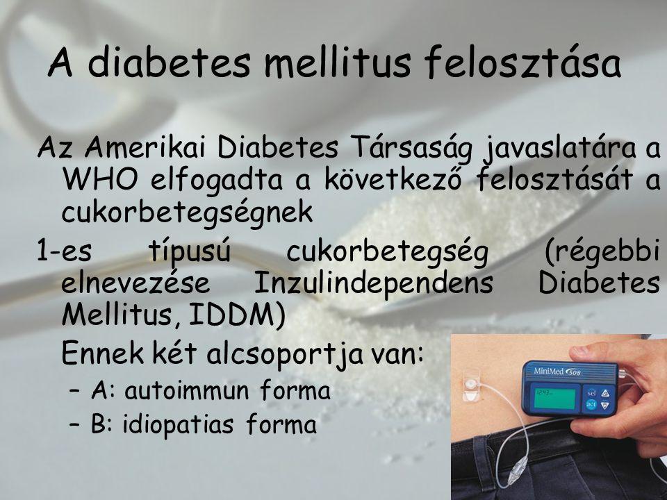 A diabetes mellitus felosztása