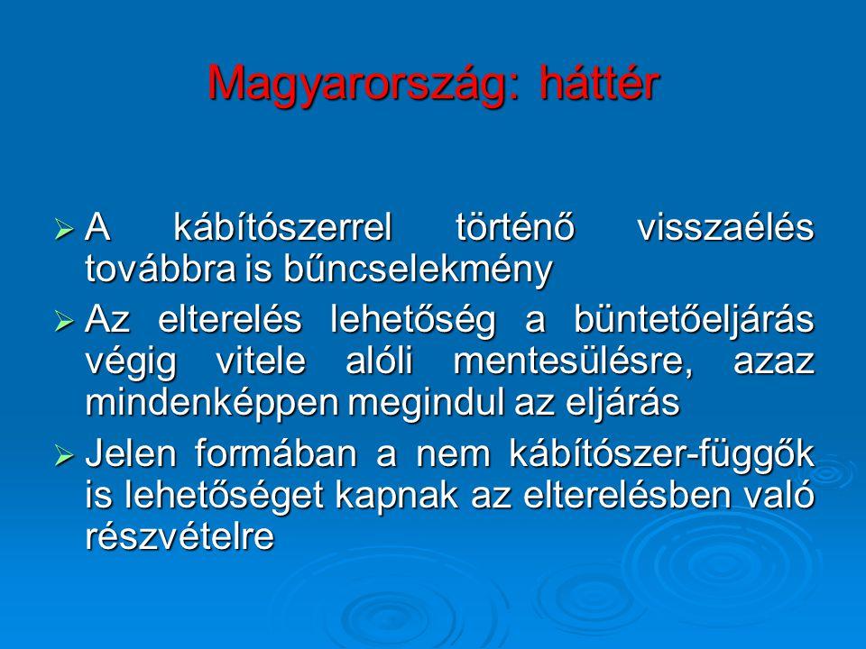 Magyarország: háttér A kábítószerrel történő visszaélés továbbra is bűncselekmény.