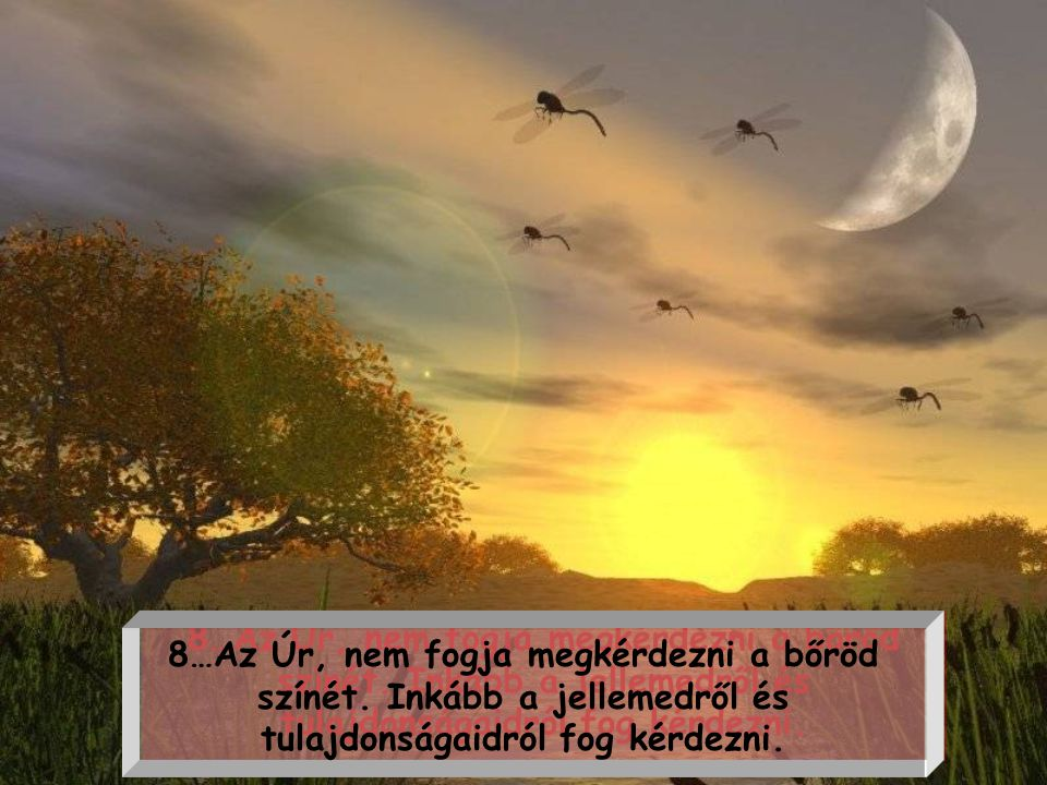8…Az Úr, nem fogja megkérdezni a bőröd színét