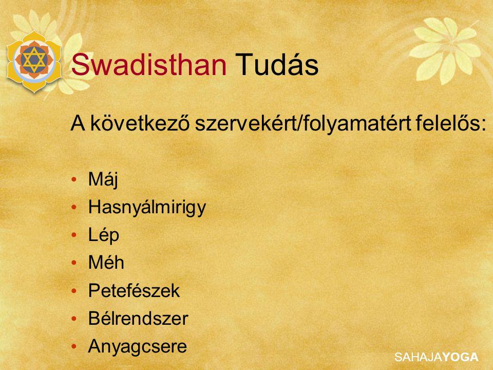 Swadisthan Tudás A következő szervekért/folyamatért felelős: Máj