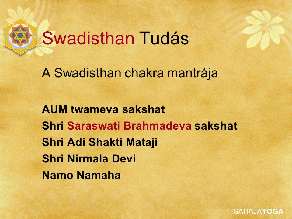 Swadisthan Tudás A Swadisthan chakra mantrája AUM twameva sakshat
