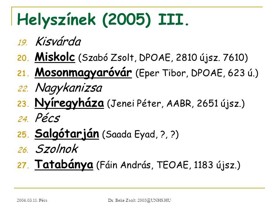 Helyszínek (2005) III. Kisvárda