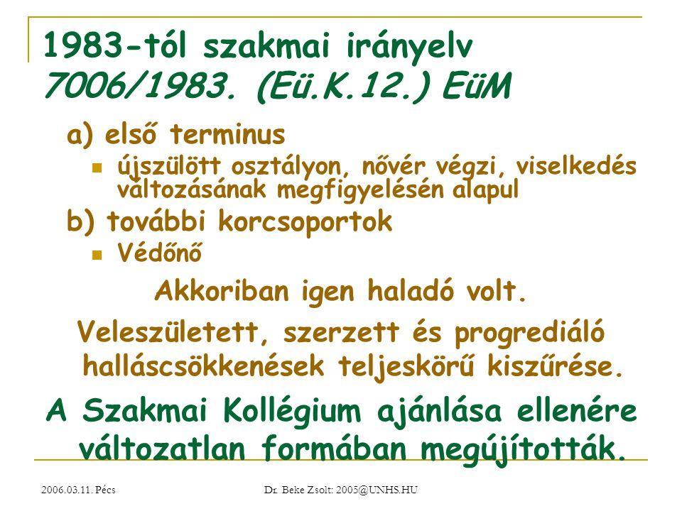 1983-tól szakmai irányelv 7006/1983. (Eü.K.12.) EüM