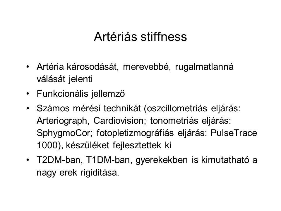 Artériás stiffness Artéria károsodását, merevebbé, rugalmatlanná válását jelenti. Funkcionális jellemző.
