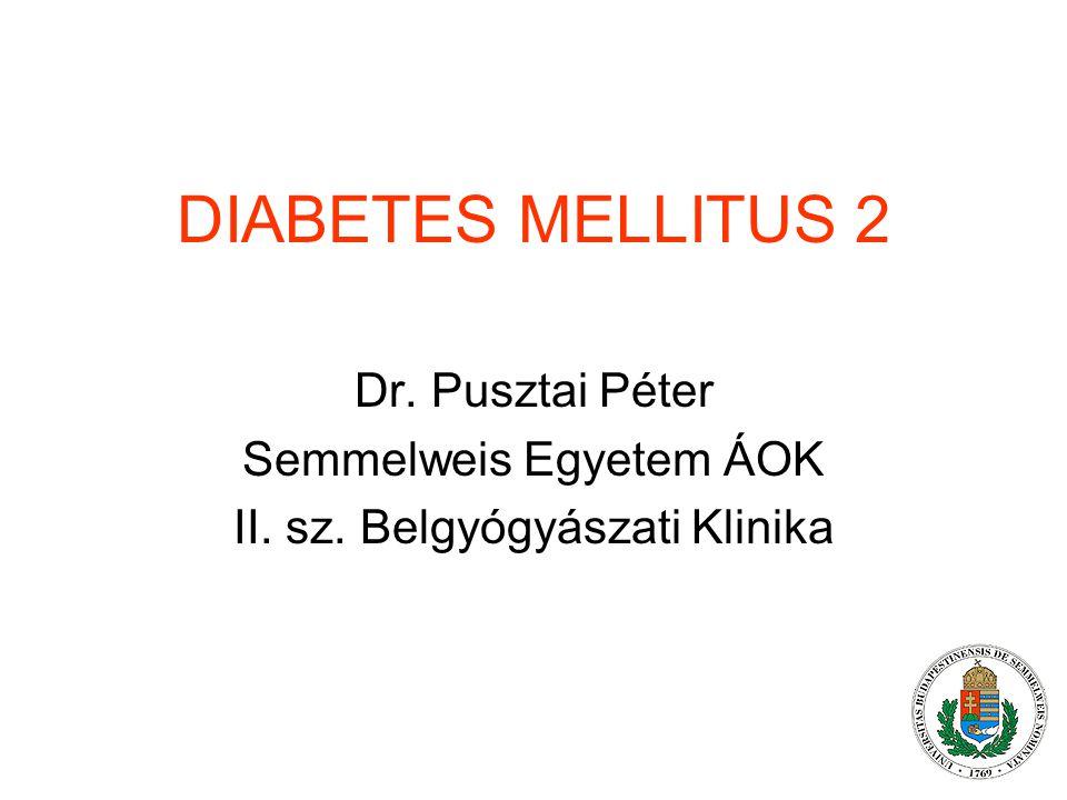 DIABETES MELLITUS 2 Dr. Pusztai Péter Semmelweis Egyetem ÁOK