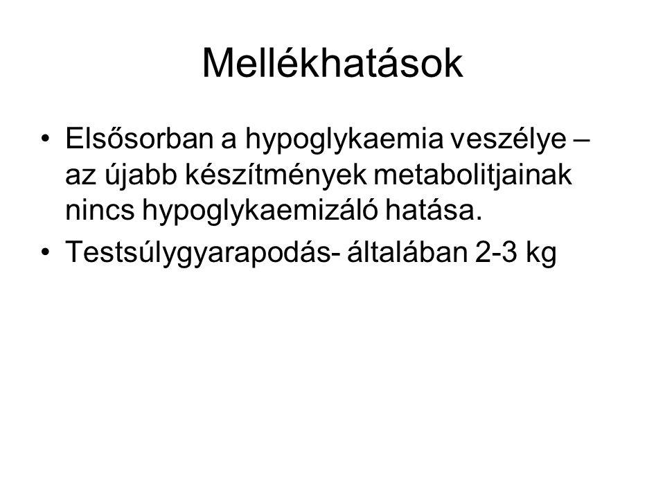 Mellékhatások Elsősorban a hypoglykaemia veszélye – az újabb készítmények metabolitjainak nincs hypoglykaemizáló hatása.