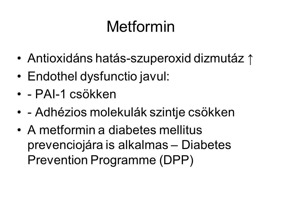 Metformin Antioxidáns hatás-szuperoxid dizmutáz ↑