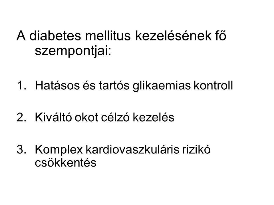 A diabetes mellitus kezelésének fő szempontjai: