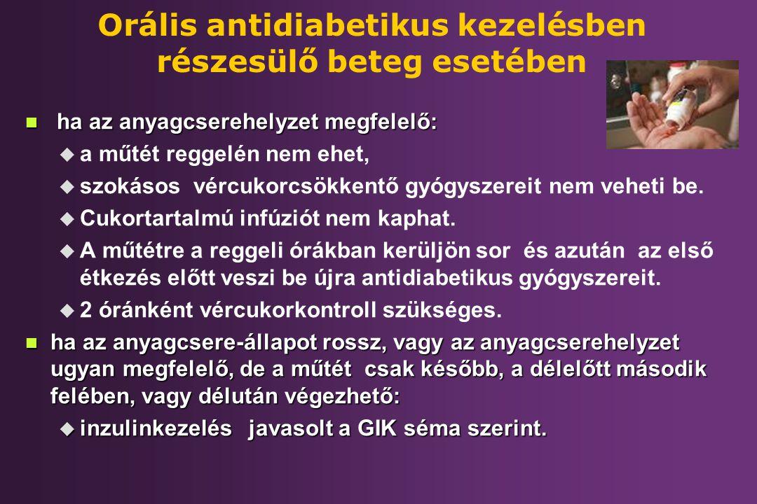 Orális antidiabetikus kezelésben részesülő beteg esetében