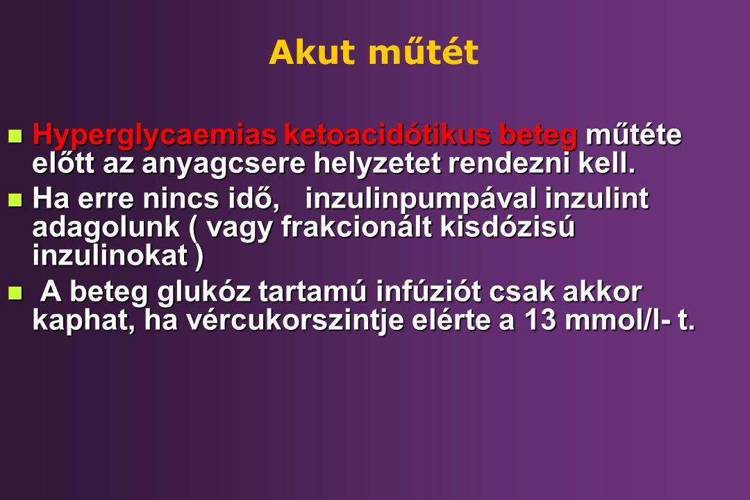 Akut műtét Hyperglycaemias ketoacidótikus beteg műtéte előtt az anyagcsere helyzetet rendezni kell.