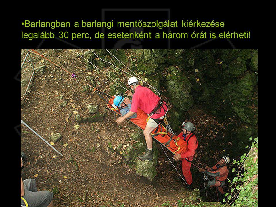 Barlangban a barlangi mentőszolgálat kiérkezése legalább 30 perc, de esetenként a három órát is elérheti!