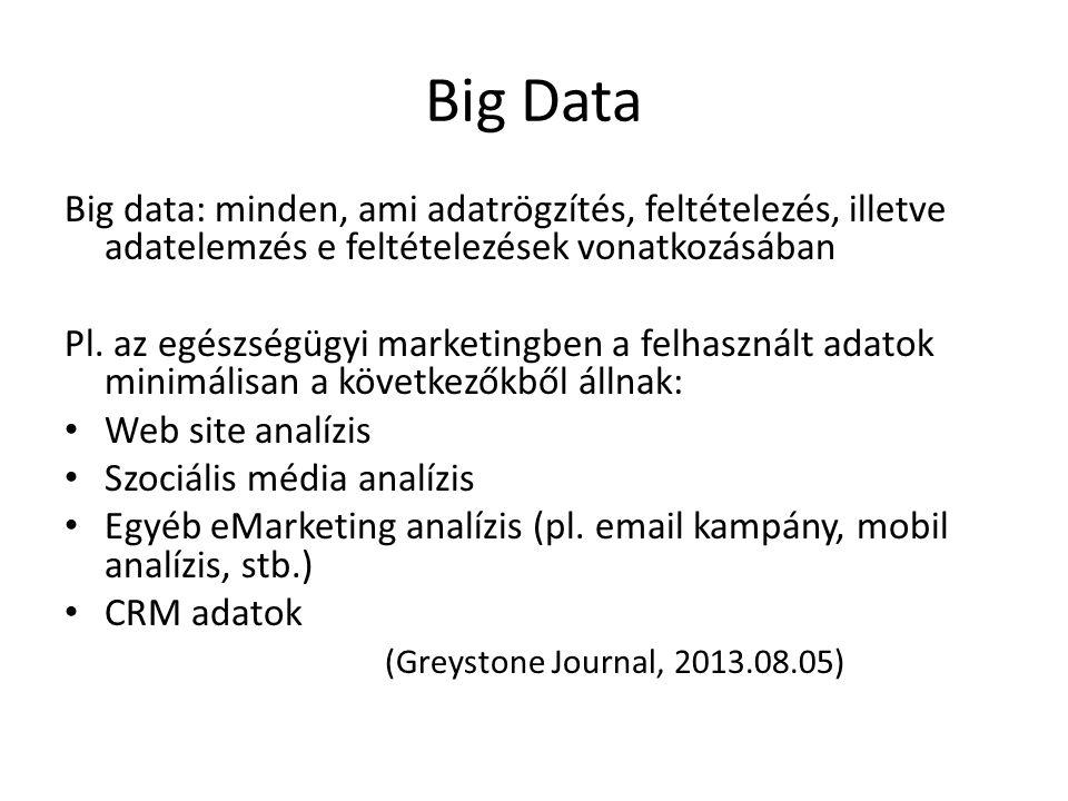 Big Data Big data: minden, ami adatrögzítés, feltételezés, illetve adatelemzés e feltételezések vonatkozásában.