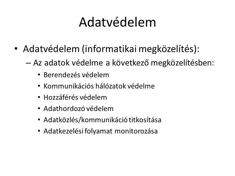 Adatvédelem Adatvédelem (informatikai megközelítés):