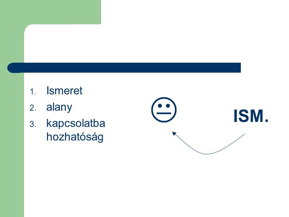  ISM. Ismeret alany kapcsolatba hozhatóság