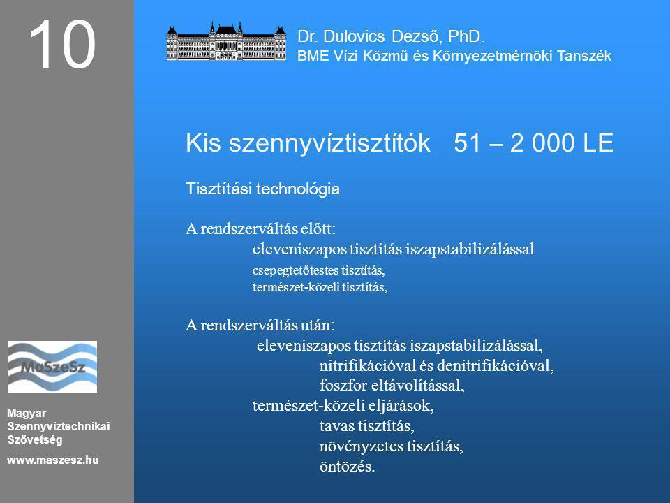10 Kis szennyvíztisztítók 51 – 2 000 LE Dr. Dulovics Dezső, PhD.