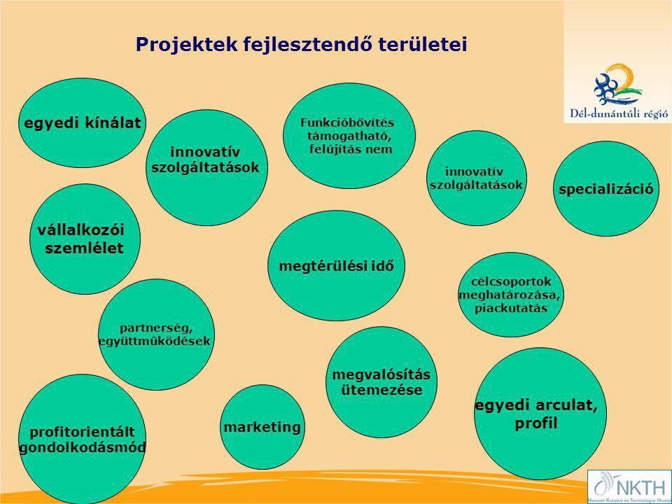Projektek fejlesztendő területei