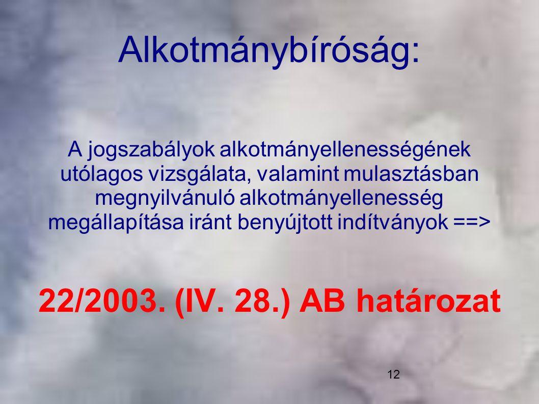 Alkotmánybíróság: 22/2003. (IV. 28.) AB határozat
