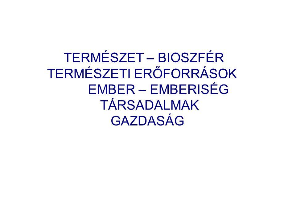 TERMÉSZET – BIOSZFÉR TERMÉSZETI ERŐFORRÁSOK