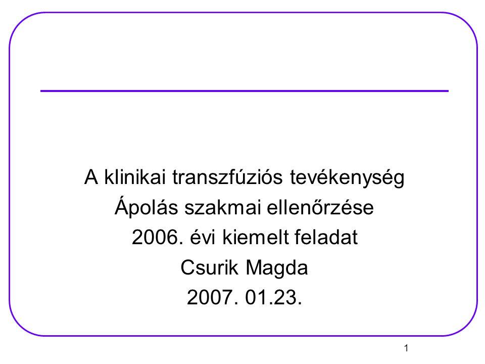 A klinikai transzfúziós tevékenység Ápolás szakmai ellenőrzése