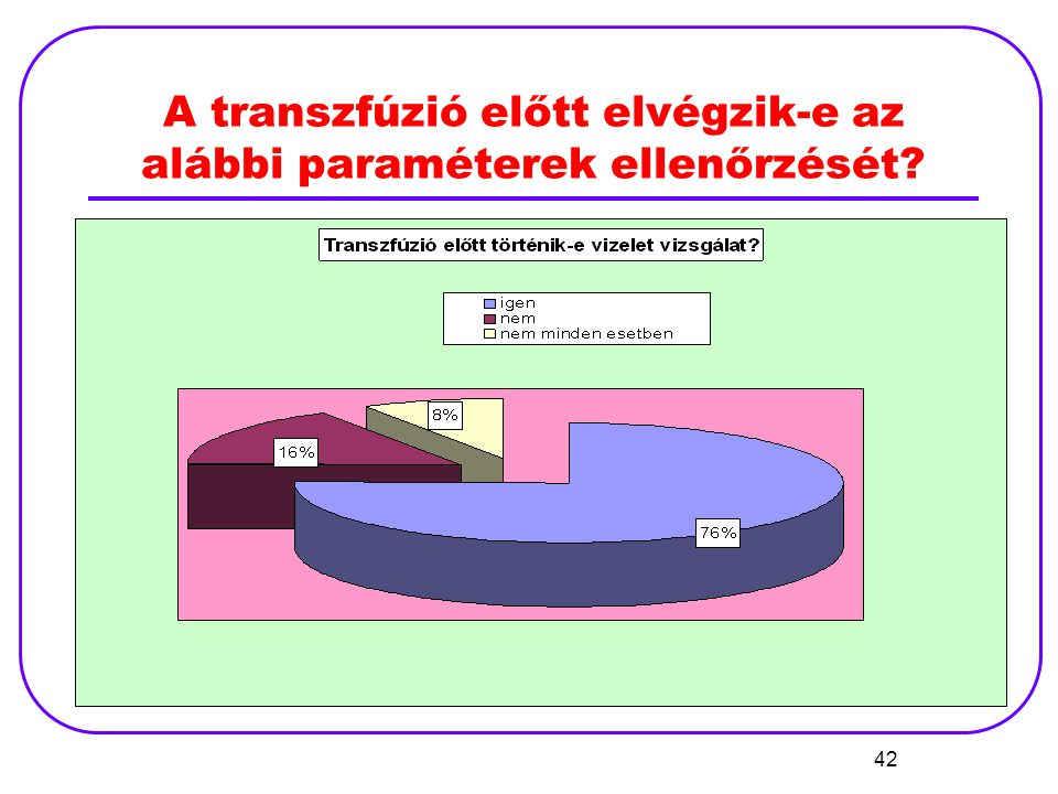 A transzfúzió előtt elvégzik-e az alábbi paraméterek ellenőrzését