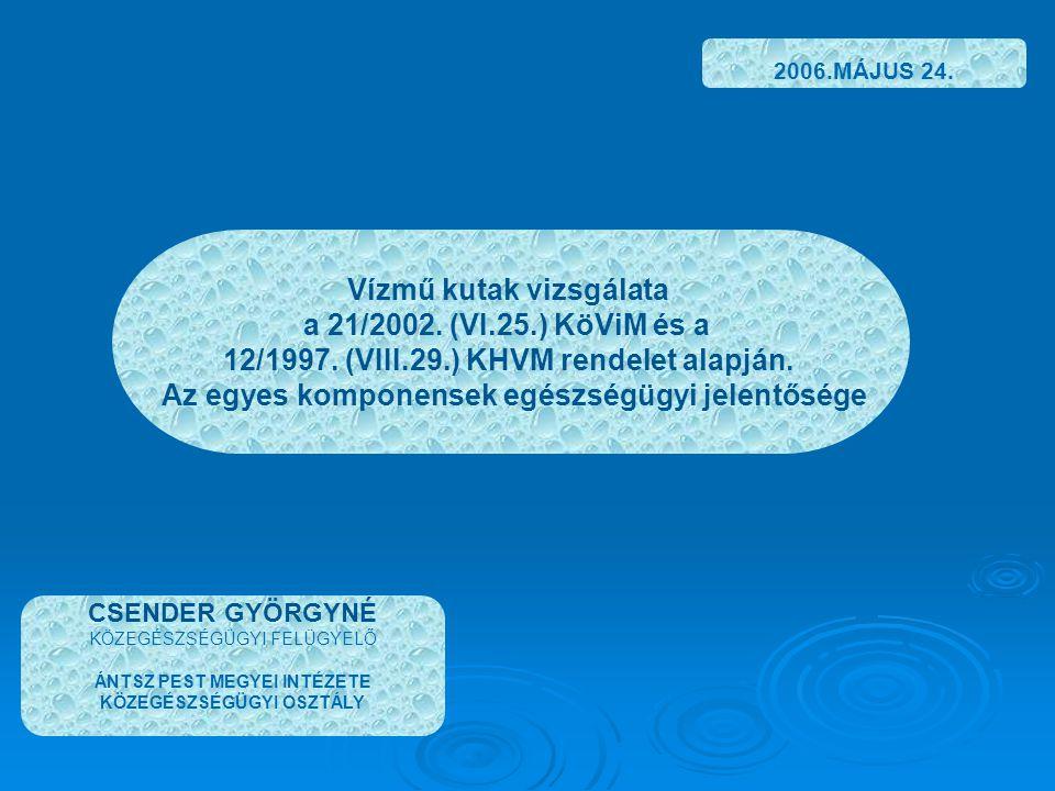 Vízmű kutak vizsgálata a 21/2002. (VI.25.) KöViM és a