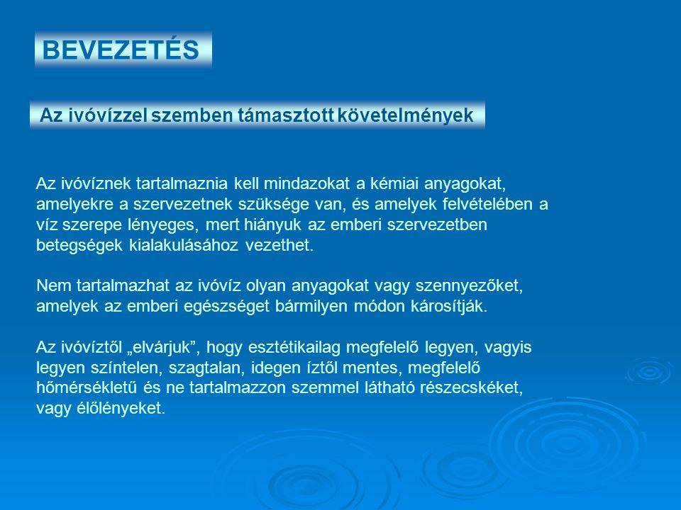Az ivóvízzel szemben támasztott követelmények