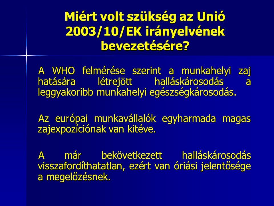 Miért volt szükség az Unió 2003/10/EK irányelvének bevezetésére