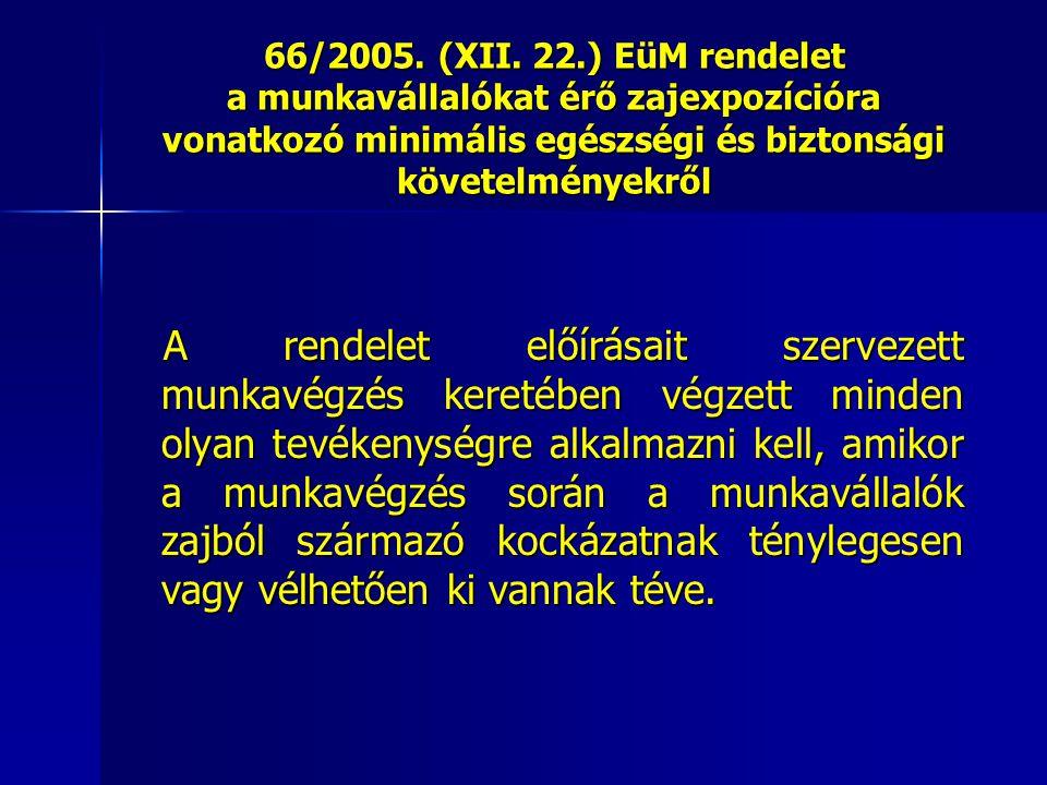 66/2005. (XII. 22.) EüM rendelet a munkavállalókat érő zajexpozícióra vonatkozó minimális egészségi és biztonsági követelményekről